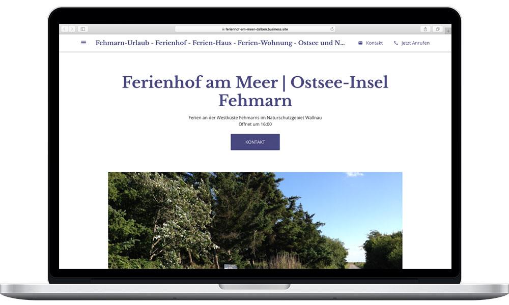 iMac mit beispielhafter kostenloser google-Website von Wencke Börding / Wenckesweg